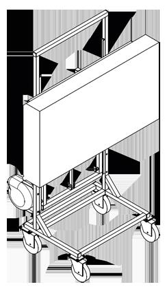 An diesem mobilen STänder kann entweder eine OberflächenKontrollOptik oder eine ColorControlOptik befestigt werden